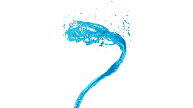 flow of blue liquid as sugar syrup or water spins into a whirlpool or a tornado. The flow of liquid rotates and forms a tornado in slow motion with alpha channel as luma matte.7 video