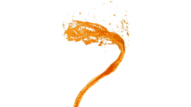 flow of orange liquid as sugar syrup or sweet lemonade spins into a whirlpool or a tornado. The flow of liquid rotates and forms a tornado in slow motion with alpha channel as luma matte.7 video