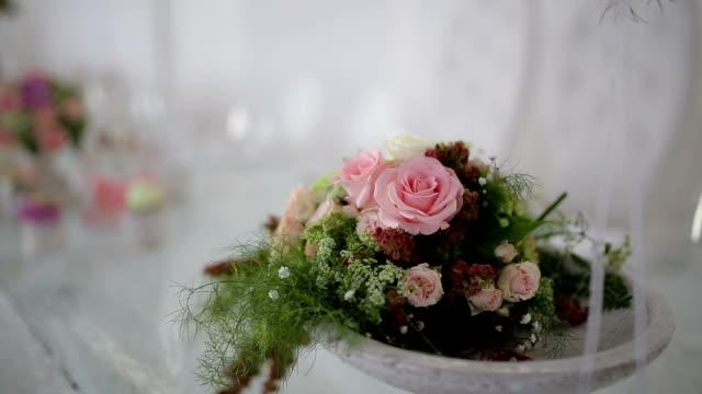 Flower decoration at wedding reception video