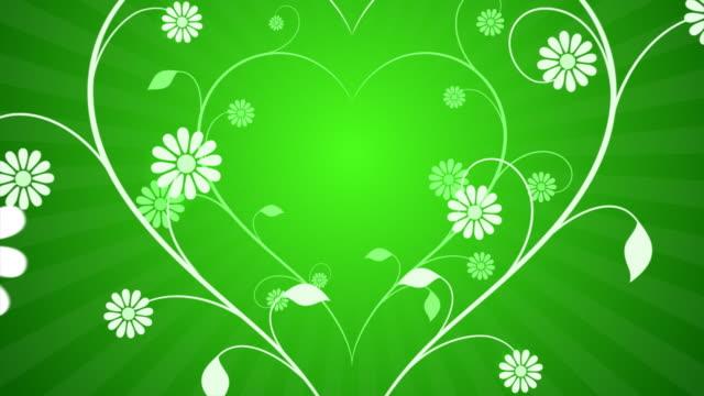 Flower Heart Grow V2 Green Background video