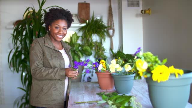 Flower shop owner. video