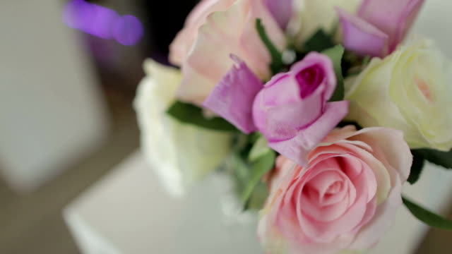 Flower vase on table at home video