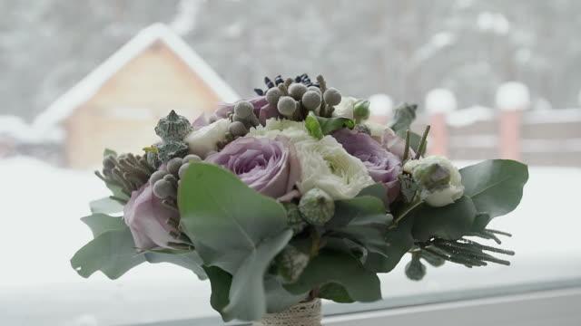 Flowers on the window. winter Season video