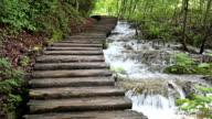 flowing creek beside wooden walkway Plitvice Lakes National Park Croatia video