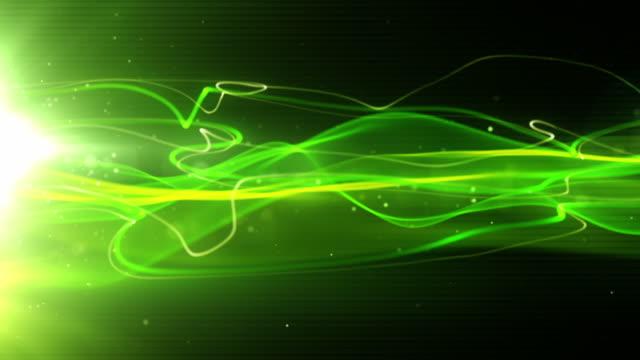 Flowing Light Streaks Background Loop - Neon Green (Full HD) video