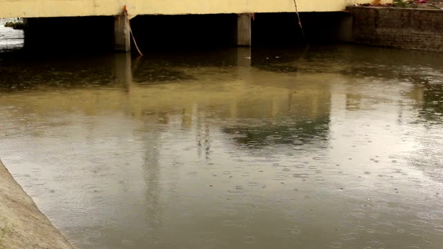 Flowing river under bridge video