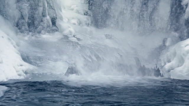 Flowing water in winter. Ice waterfall. Closeup. Winter background video