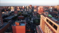 Flushing Meadows Queens Aerial Over Buildings & Traffic video