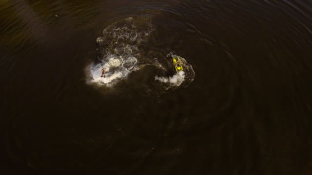Fly board rider on the river.Aerial video video