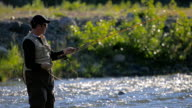 Fly Fishing in River, Close-up video