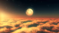 fly in clouds sunset moon video
