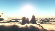 fly in sunset clouds video