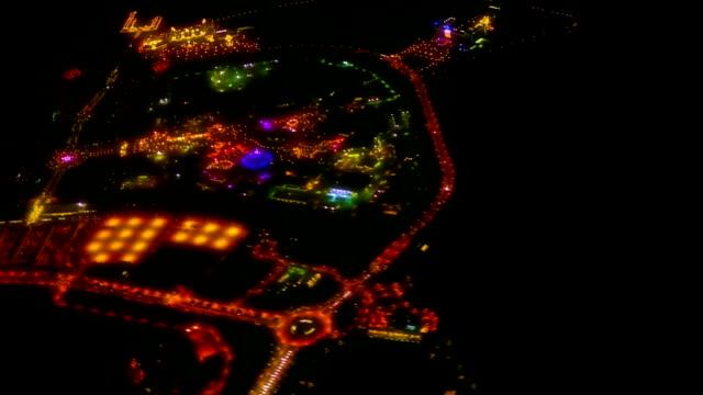 Fly over amusement park. video