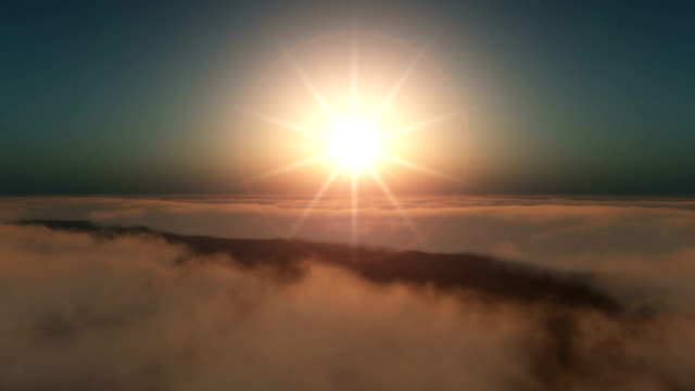 fly over clouds in sunset 4k video