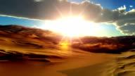 fly over desert sunset video