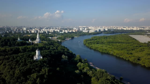Fly over Kolomenskoye park and Moscow river video