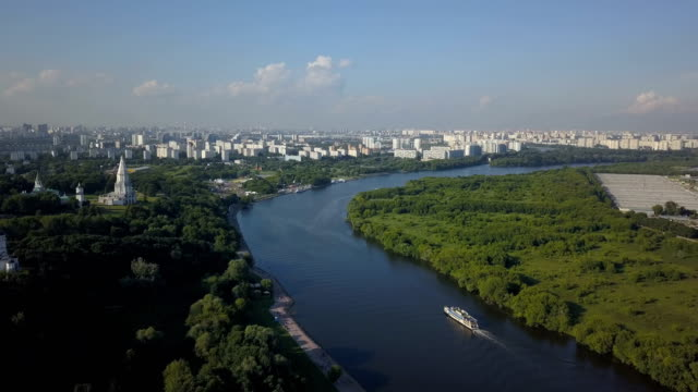 Fly over the Church of the Ascension, Kolomenskoye park and Moscow river video