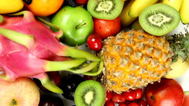 Fly over view of fruits' pile video