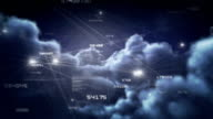 Fly through clouds with network connections. Night. Loopable. video