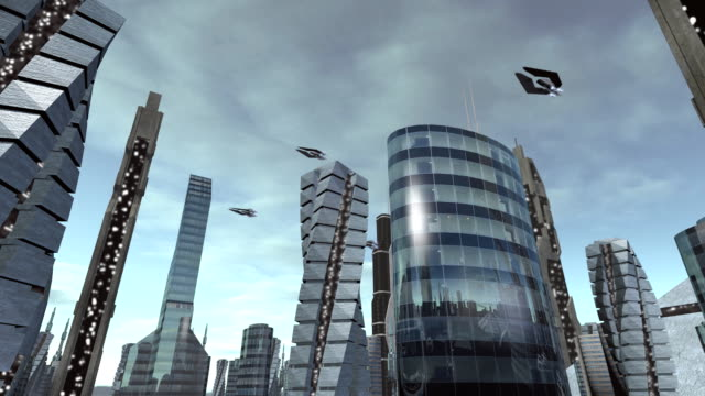 Fly through futuristic city with spaceships passing by video