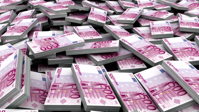 Fly through over Pile of 500 euro currency stacks (Loop) video