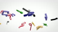 Flying 3D Musical Notes - Coloured On White (Full HD) video