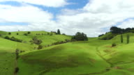 AERIAL: Flying above beautiful lush green landscape in New Zealand with green meadow fields and high mountains video