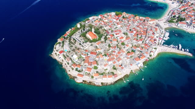 Flying above famous dalmatian nautical destination, Primosten, Croatia video