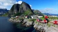 Flying above fishing village Hamnoya on Lofoten islands. video