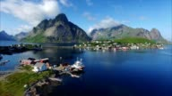 Flying above port of Reine on Lofoten islands video