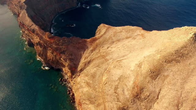 flying above Sao Lourenco peninsula, Madeira, aerial view video