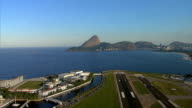 Flying above the airport with Sugar Loaf Mountain, Rio de Janeiro video