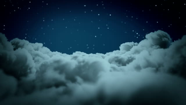 Flying above the clouds at night video