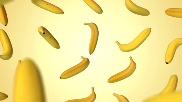 Flying banana on gradient background video