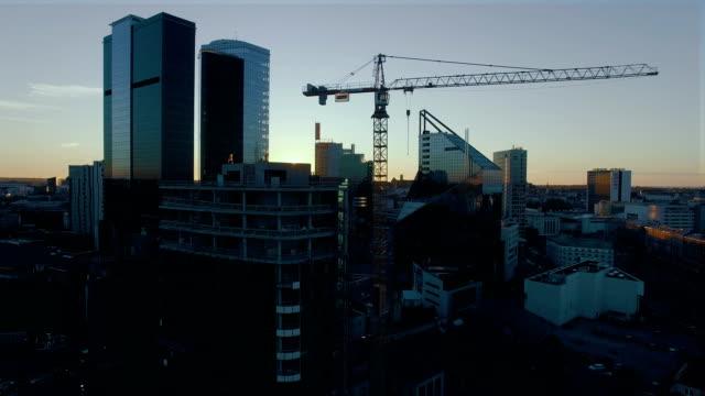 Flying between skyscrapers in Business District video