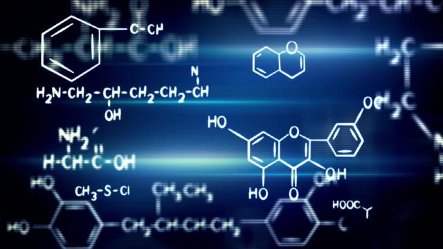flying chemical formulas loop video