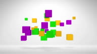 Flying Colorful 3D Cube Shapes Moving To The Off Screen video