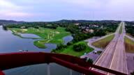 Flying directly over Pennybacker Bridge of Austin , Texas video