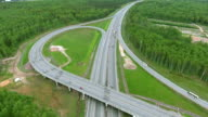 Flying drone over the highway video
