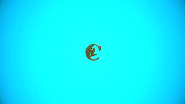 Flying Euro and English Pound signs on blue video