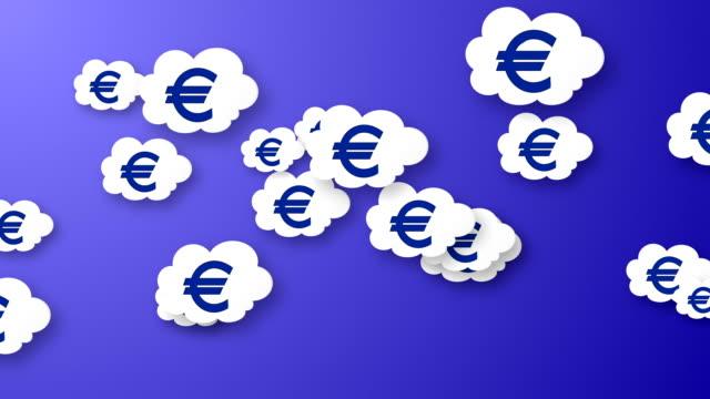 Flying euros animation on blue background. video