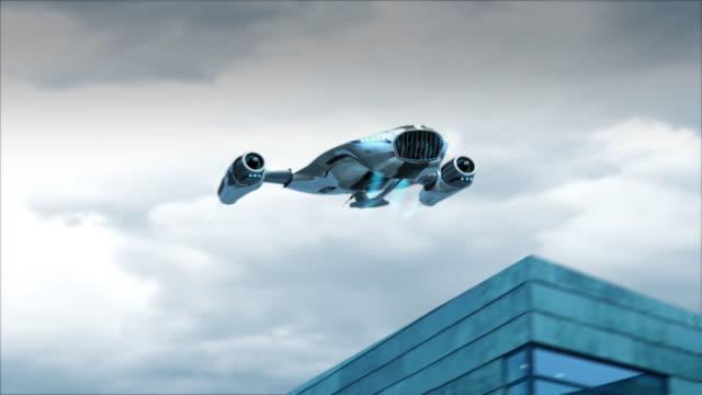 Flying futuristic car landing video