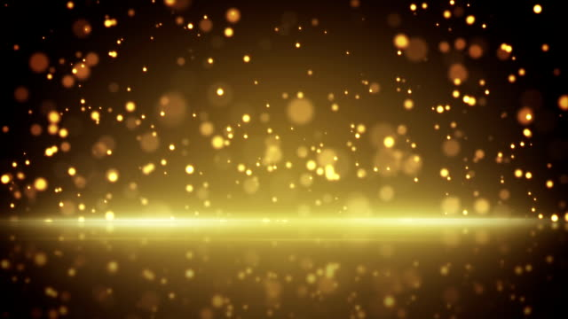 flying gold particles and reflection loop background video