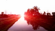 Flying in between riverside trees, into magical, colorful sunrise video