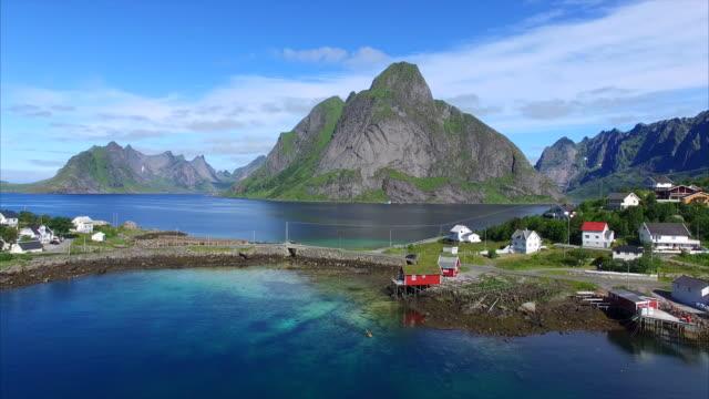 Flying in Reine on Lofoten islands, Norway video