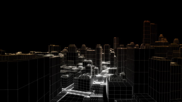 Flying in the sketched city, edges glow video