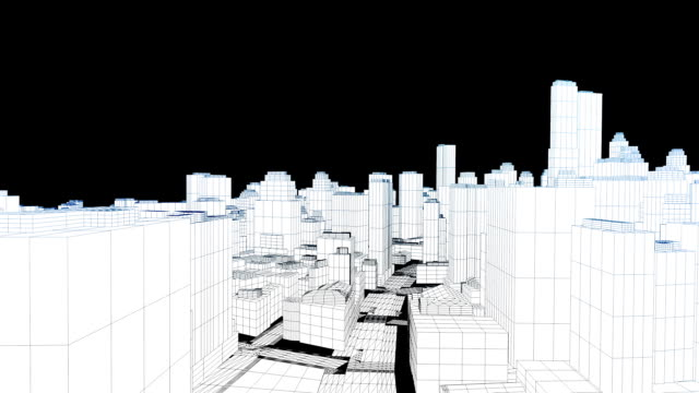 Flying in the sketched city on white, edges glow video