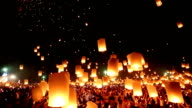 Flying lanterns in Loi Kra Tong festival video