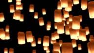 Flying Lanterns Yeepang Festival. Beautiful 3d animation. HD 1080. Close-up view. video