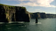 Flying Low Past Cliffs  - Aerial View - Munster, Co Clare, Ireland video
